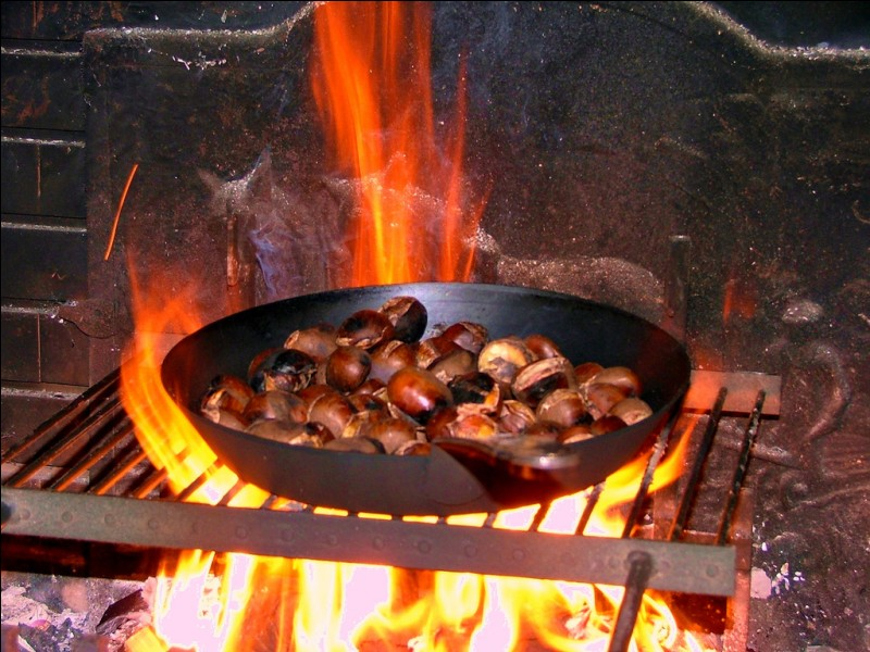 What is the biggest risk of roasting chestnuts on an open fire?