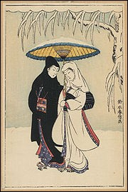 "Who painted ""Couple under umbrella in snow ?"