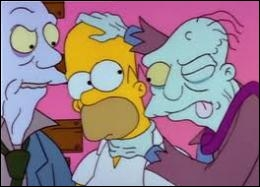 In an episode of The Simpson Horror Show called Dial Z for Zombies, why the walking dead have trouble eating Homer's brain