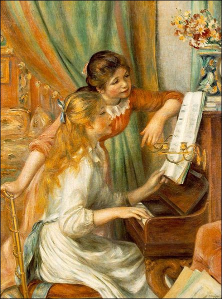Which artist painted Young Girls at the Piano ?