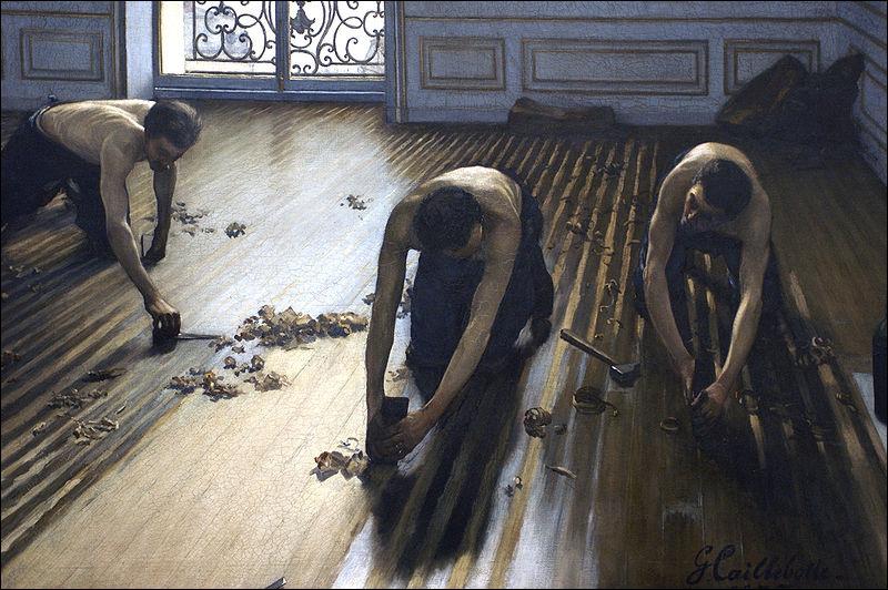 Which artist painted Les planoteurs de parquets ?