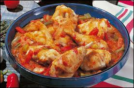 One of these chicken preparations uses onions, tomatoes, red and green peppers. Which ? The chicken ...