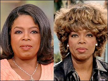 Which of these legends did Oprah wear a wig for?