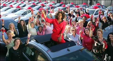 How many cars did Oprah give away on that famous episode?