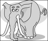 Which letter does the word 'elephant' starts with?