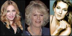 Madonna, Celine Dion, and Camilla Parker-Bowles are related