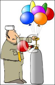 When you have used Balloon Gas (Helium) to fill balloons for your Christmas Party, what should you then do with the cylinder?