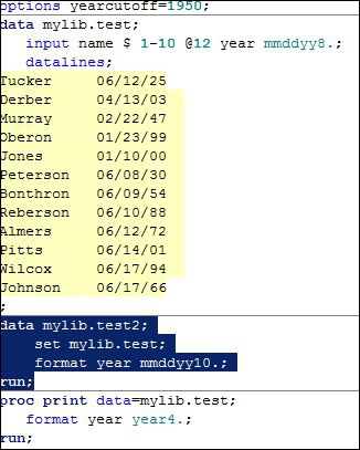How do the year cutoff lines and the code highlighted in blue interact?