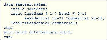In the code shown, residential and commerical are what kinds of fields?