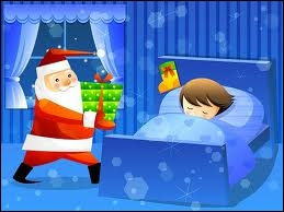 Santa Claus (came) down the chimney while he (sleep)