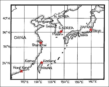 If you started at Seoul and traveled to Osaka, about how many degrees of Latitude have you traveled?