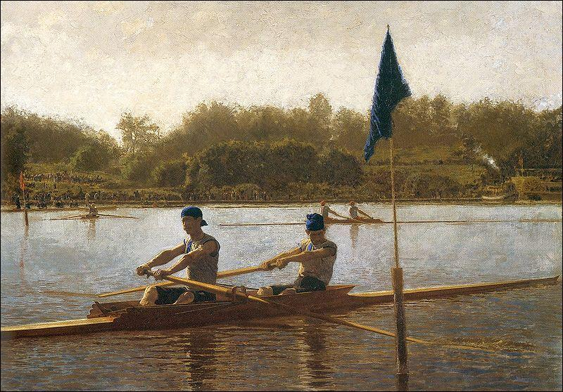 The Biglin Brothers Turning the Skate-Boat  is a famous painting by this artist known for his paintings of rowers...