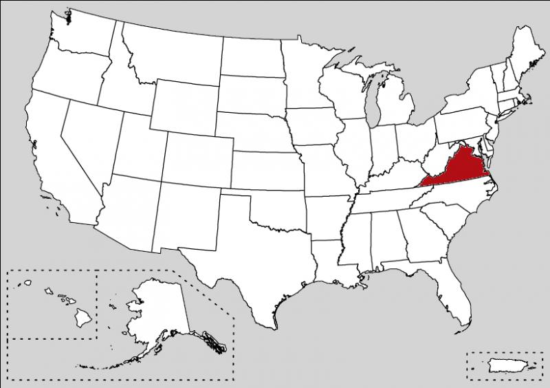 The famous Native Pocahontas was born in this area in 1595. The state's motto is  Sic Semper Tyrannis . It is :