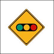 True or False : The following sign indicates that there is a push-button-type traffic signal ahead.