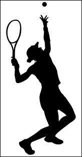He is playing tennis. The current score is 30 - 0 : thirty - ...