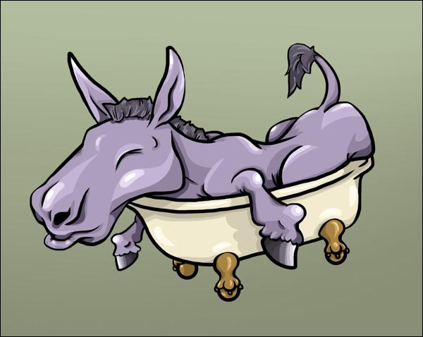Donkeys cannot sleep in bathtubs.