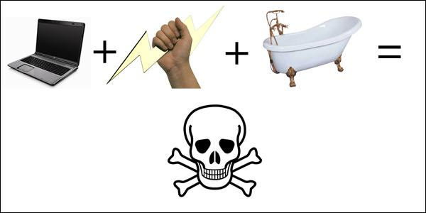 A women can be fined (even if dead), for being electrocuted in a bathtub because of using self-beautification utensils.