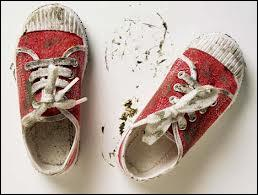 What happened ____ your shoes? They look filthy!