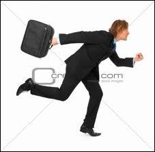 They ran _____ the man with the suitcase, but they couldn't catch up with him