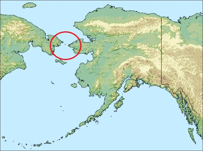 The Bering strait is located between ... United States and ... Russia.