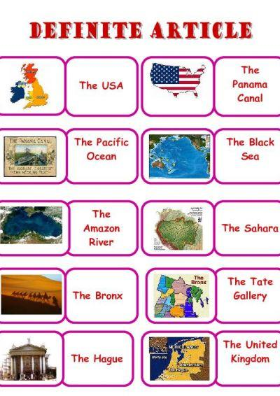 Definite article with geographical names