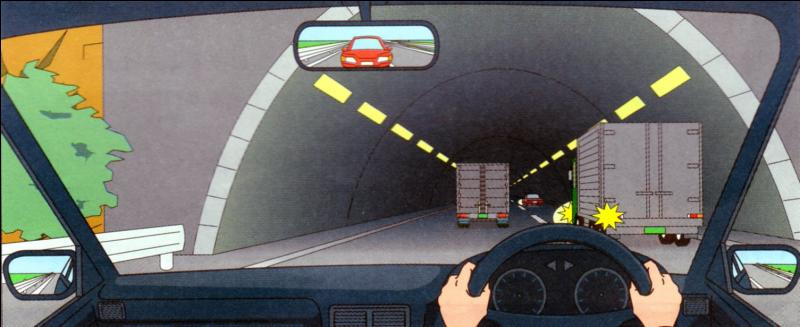 You are travelling at 60 km/hr. what are cautions you should do?While entering the tunnel, the right side vehicle is about to enter on your traffic zone so goes a little bit part of the left side and proceeds.
