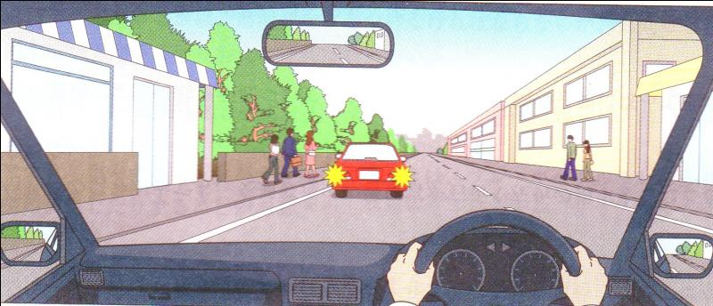You are travelling at 70 km/hr. going straight however there is a car stopping in front of you. What are cautions you should do?On the left side stopped automobile might suddenly open its door so you will travel at a slow speed and a sufficient space between you and the stopped automobile.