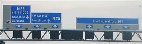 Where must you be in order to enter the M25 towards Heathrow?